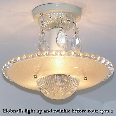 173b Vintage aRT DEco CEILING LIGHT chandelier fixture glass tan 3 Light