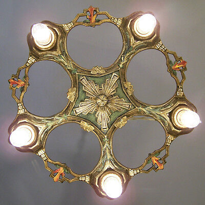 143b Vintage 20s 30s Ceiling Light  aRT Nouveau Polychrome Chandelier LaSalle
