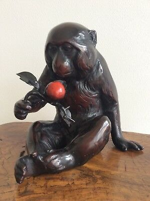 Japanese Old Monkey Statue / Date 1900-1940 / W 20.5×H 20[cm], 4.8kg