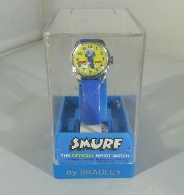 Vintage Smurf Wrist Watch Boy  Blue Band Bradley Time