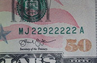 2013 $50 7/8 Near Solid Serial Number 22922222 MJ/A Binary
