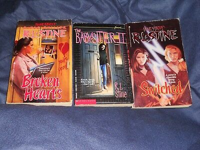 RL Stine Fear Street Book lot Switched, Broken Hearts, The Baby Sitter II