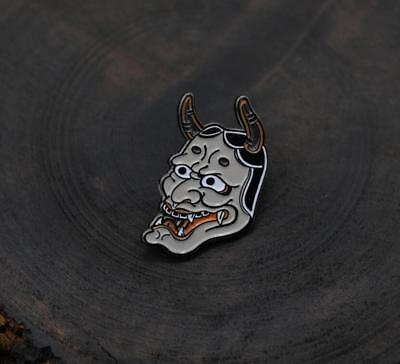 Handmade Brass Hannya Brooch badge Bag Clothing Decoration Japan Paint Cos Gift