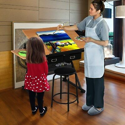 Home Hobby Craft Table with Storage Drafting Draftsman Art Drawing Desk Study