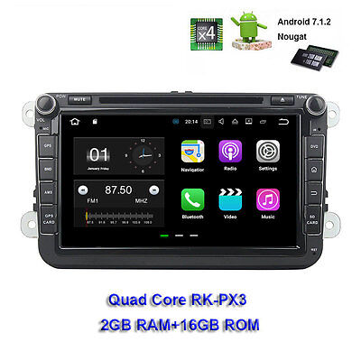 2G+16G Quad Core 2 Din Android 7.1 Car DVD GPS for VW PASSAT GOLF 8'' Car Radio