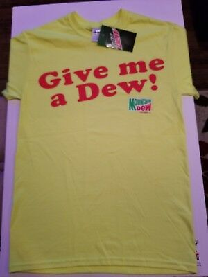 Mountain Dew Give Me a Dew Fountain Drink Soda Novelty Small Tshirt New w/ Tags