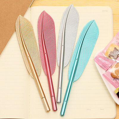 Colorful Feather Shape Gel Ink Pen Rollerball Refills Stationery School Things Q