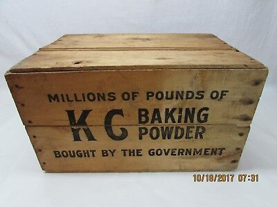 Fantastic Vintage Wooden Kc Baking Powder Advertising Box Crate W/ Top & Bottom