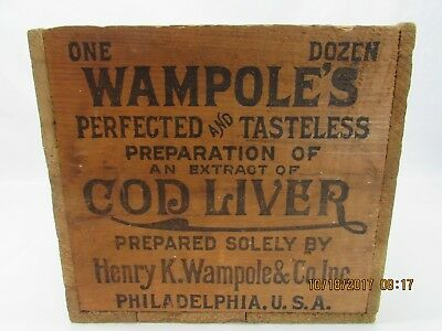 Vintage Wooden Wampole's Cod Liver Advertising Box Crate Collectible Excellent