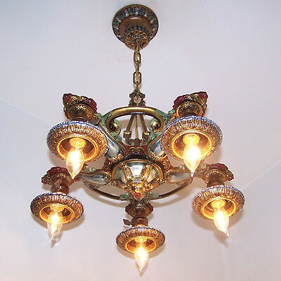 138b Vintage 20s 30s Ceiling Light  aRT Nouveau Polychrome Chandelier