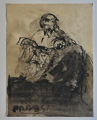 Post War Expressionst Pen & Ink Painting By Joachim Probst