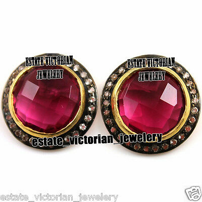 Vintage Style 1.92Ct Rose Cut Diamond Ruby Jewelry Sterling Silver Studs Earring