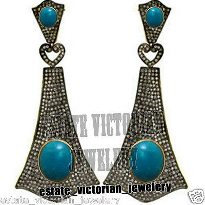 Estate Vintage 4.90Ct Rose Cut Diamond Sterling Silver Turquoise Earring Jewelry