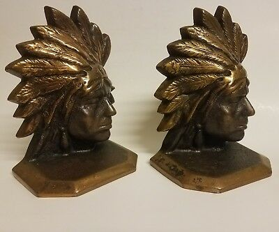 Rare VINTAGE SOLID BRONZE INDIAN CHIEF HEAD BOOKENDS Beautiful add perfect!!