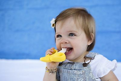 Toothbrush Baby Training Banana Infant And Teether Yellow Soft Brush Chewable