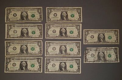 Lot of 10 $1 Binary Serial Number Circulated Notes