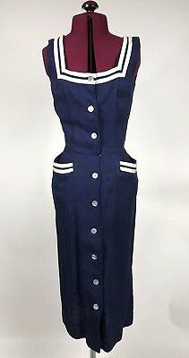 Vtg 50s Navy Sailor Pencil Wiggle Dress Jr Miss California by Hess Goldsmith XS