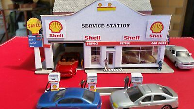 a service station in card for a model train set ho scale free postage