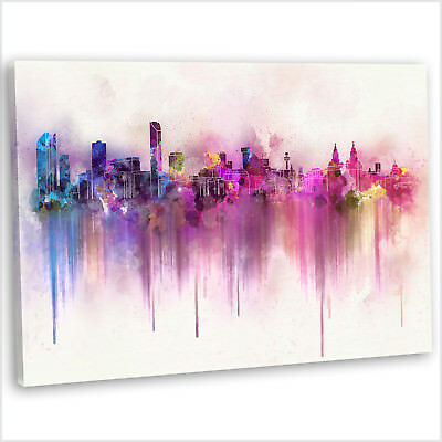 Liverpool Skyline Canvas Print Abstract Watercolour Framed Wall Art Picture ~3