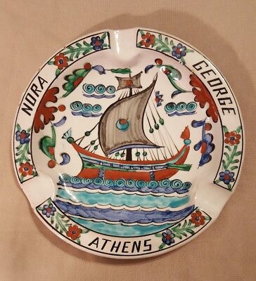 VINTAGE ICAROS Pottery ASHTRAY - SHIP. E. 2-17