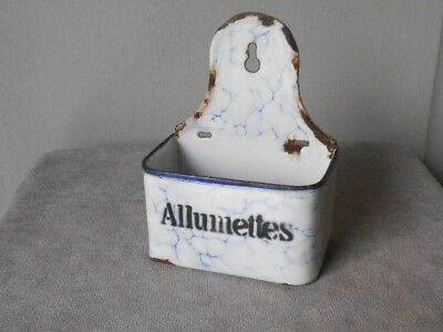 Antique French Enamelware Matches BOX : ALLUMETTES  BLUE VEIN pattern
