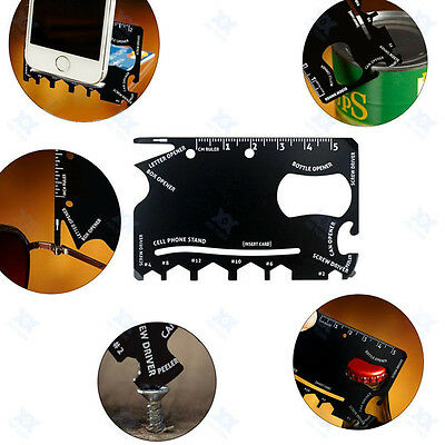 Multifunction 18 in 1 Credit Card Size Pocket Survival Outdoor Camping  Tools