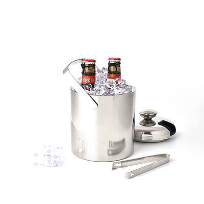 1.3L Ltr Large Double Walled Stainless Steel Insulated Ice Bucket With Tongs Lid
