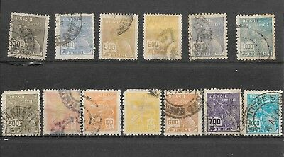 13 old used Brazilian stamps - Brazil postage (BR1)