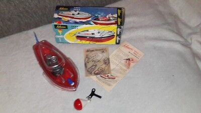 Schuco 3002 Police Teleco clock work boat in original Box