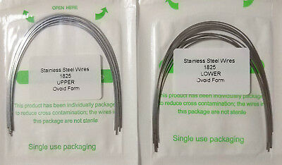10Packs Orthodontic Arch Wire Stainless Steel Rectangular 18X25 U/L Ovoid Dental