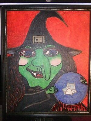 *OOAk Artist framed drawing Halloween Witch with crystal ball. ***EYES*** FOLLOW