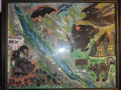*OOAk Artist framed abstract Witches brew drawing Halloween, Very detailed