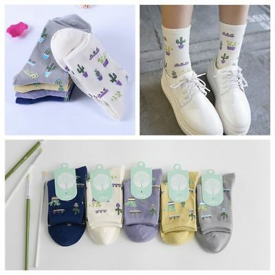 Soft Hot Women Girl Plant Cactus Pattern Lovely Cute Cotton Casual Warm Socks