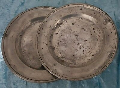 18th.c.PAIR OF LONDON PEWTER PLATES / ENGRAVED 'PEGG' .c.1780.nr