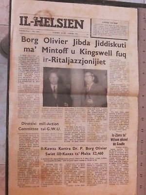 Il-Helsien Newspaper Borg Olivier Mintoff Kingswell Front Page Report