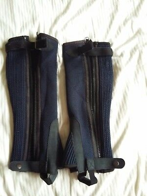 Performance Equestrian Short Riding Chaps Navy Blue Size S Used