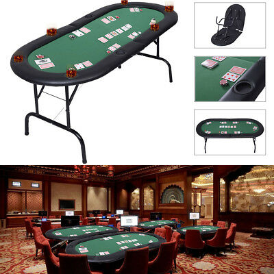 New 8 Players Foldable Poker Table Top Casino Cards Game Sports W/ Drink Holders
