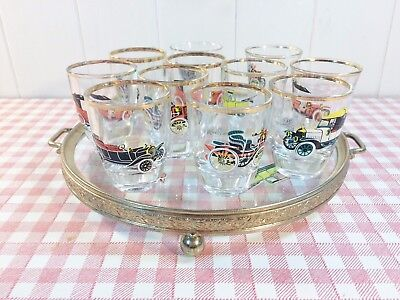 Vintage 60s 70s Shot Glasses x 10 Motor Themed & Matching Brass Glass Tray