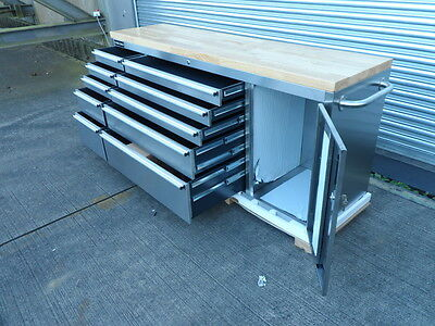 """Damaged (Di 1) 126  Bench Roll Cab Stainless Steel 72"""" Cupboard 10 Drawers"""