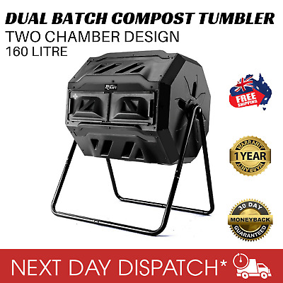 Plant Craft Twin Compost Tumbler Dual Batch Bin Food Waste Composter Garden 160L