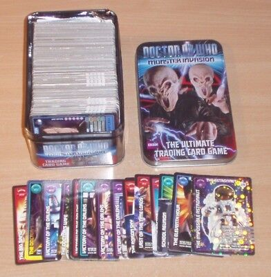 Over 280 Doctor Who Monster Invasion and Extreme trading cards, In collector tin