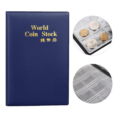 120 Coin Holder Collection Storage Collecting Penny Pockets Album Book Blue ✿C