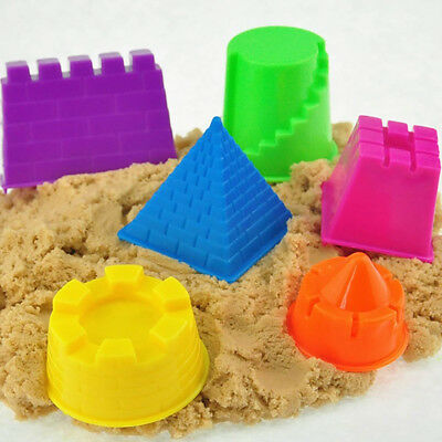 6Pcs/Set Magic Sand Mold Children Funny Indoor Play Toy Mould Pyramid Castle DIY