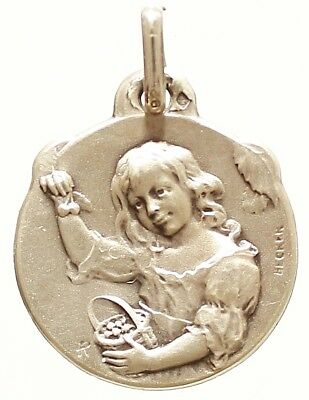 VINATGE STERLING SILVER PENDANT THE YOUNG GIRL &CHERRIES  by BECKER