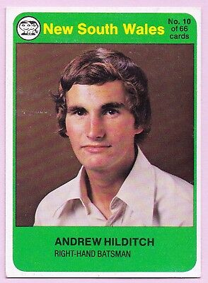 1978/79 Scanlens Cricket Card:  ANDREW  HILDITCH   (New South Wales)  #10