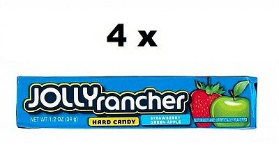 4 x USA JOLLY RANCHER Square Hard Candies Strawberry, Green Apple Flv., 34g each