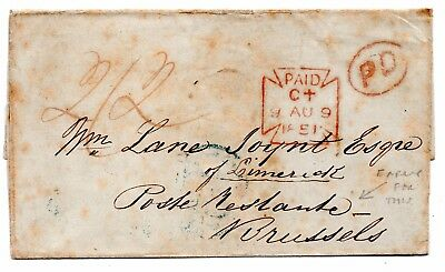 1851 Wrapper to Belgium - early use of Poste Restante- mail held until collected