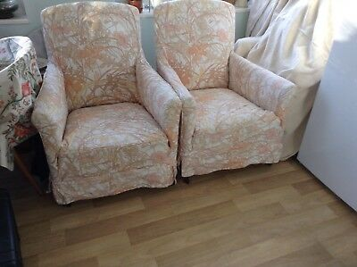 antique chairs upholstered in vintage sanderson fabric