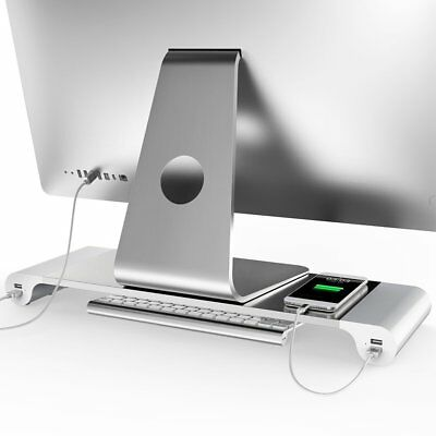 4 Ports USB Laptop PC Monitor Stand Holder Heighten Bracket Phone Charger BU