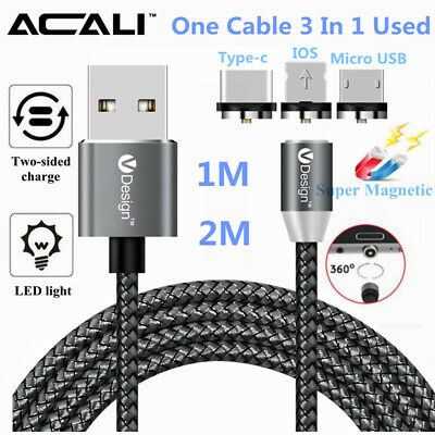 ACALI 360° Round Magnetic Cable Fast Charge Adapter For Micro USB Type-C Lot